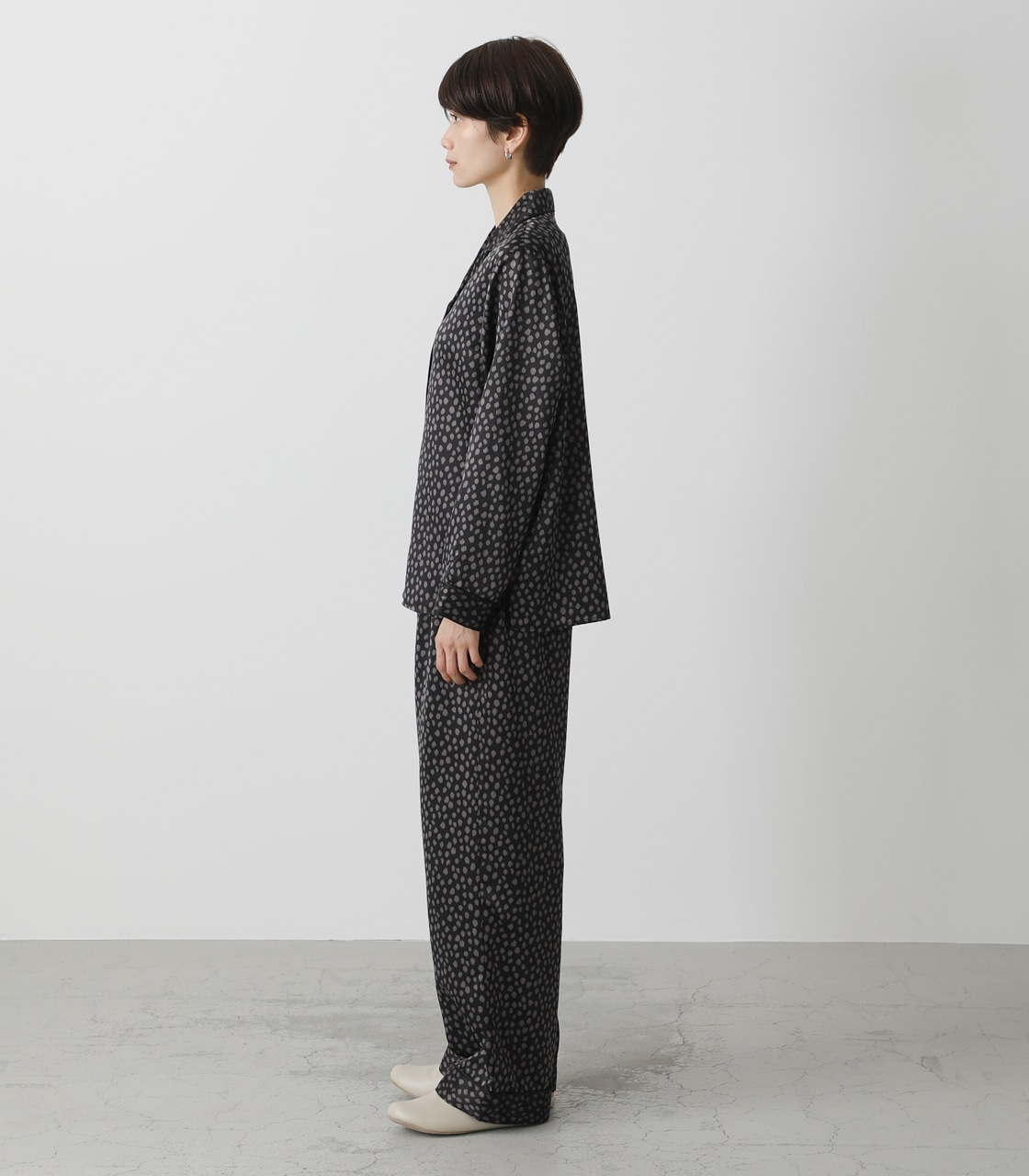 T/H SATIN L/S PAJAMAS/T/Hサテンロングスリーブパジャマ 詳細画像 柄BLK 6