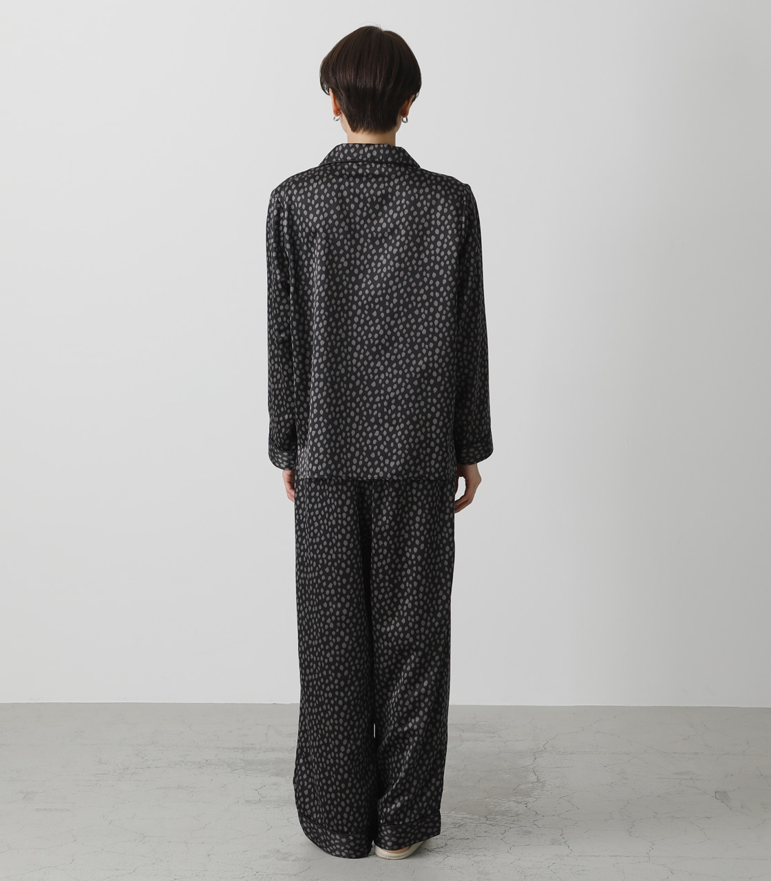 T/H SATIN L/S PAJAMAS/T/Hサテンロングスリーブパジャマ 詳細画像 柄BLK 7