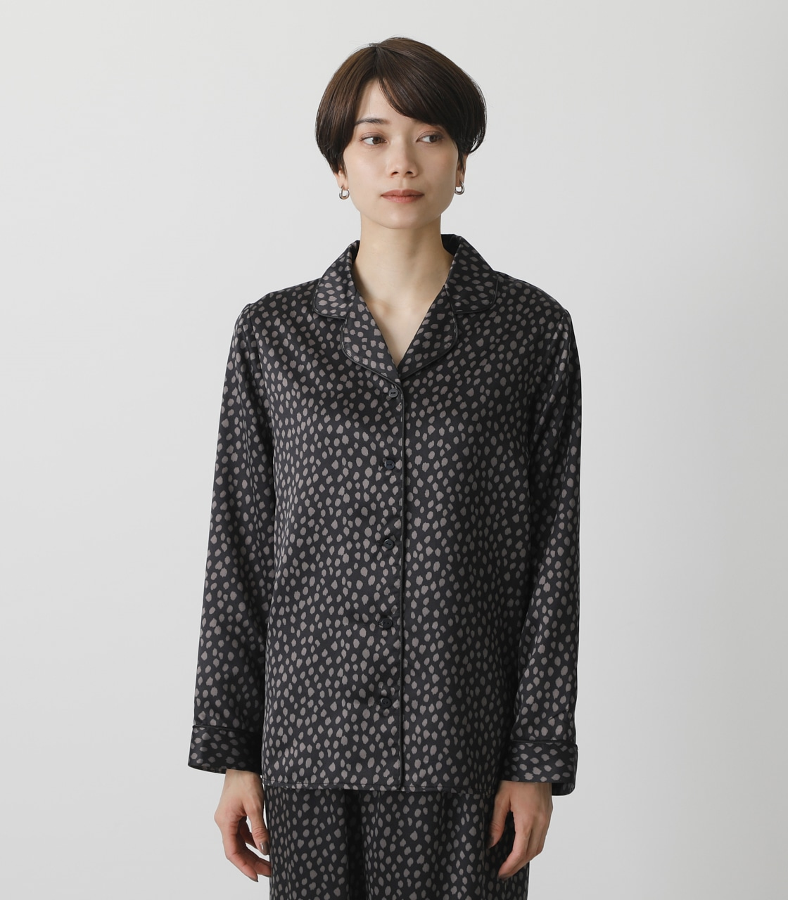 T/H SATIN L/S PAJAMAS/T/Hサテンロングスリーブパジャマ 詳細画像 柄BLK 8