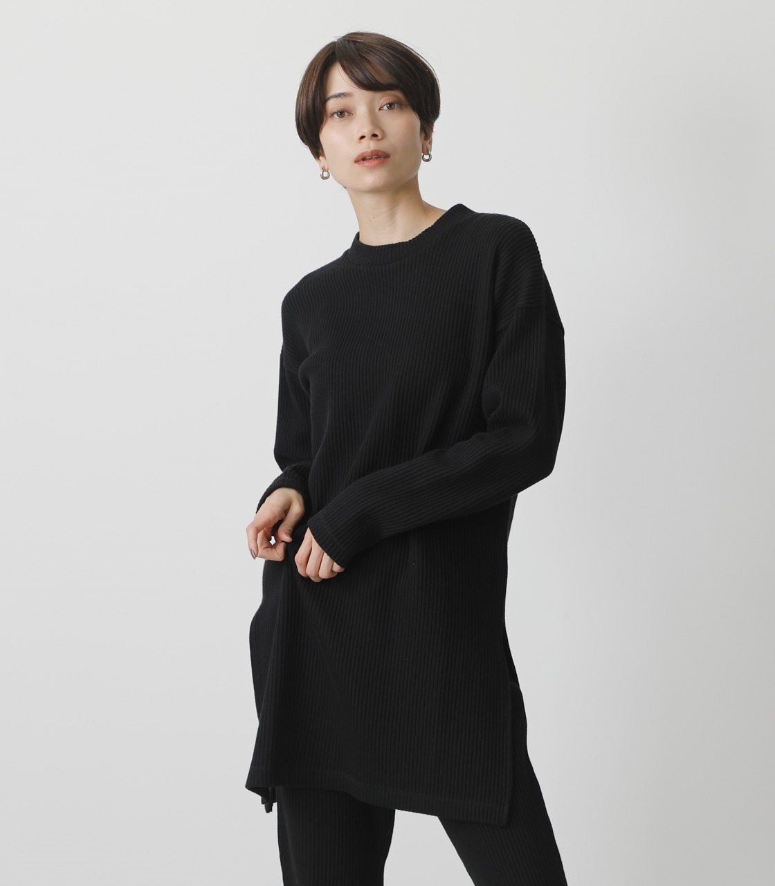 T/H SIDE SLIT LONG TOPS/T/Hサイドスリットロングトップス 詳細画像 BLK 1