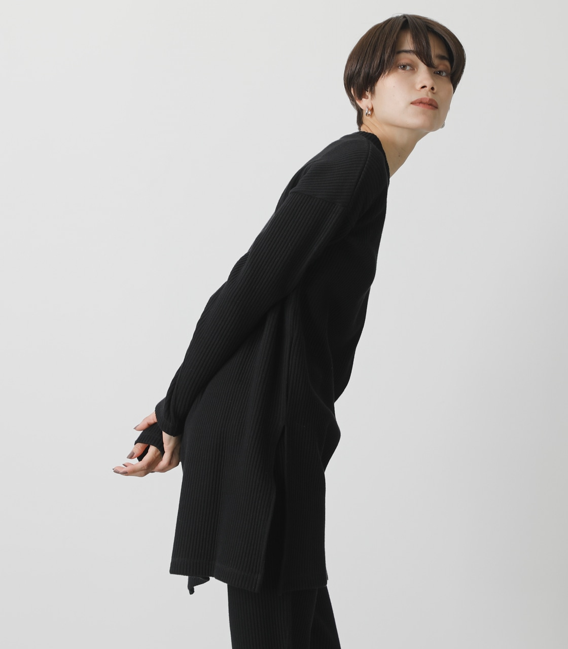 T/H SIDE SLIT LONG TOPS/T/Hサイドスリットロングトップス 詳細画像 BLK 2
