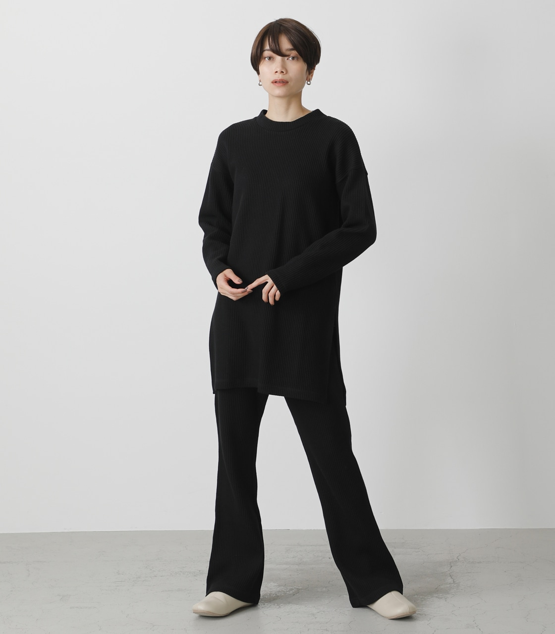 T/H SIDE SLIT LONG TOPS/T/Hサイドスリットロングトップス 詳細画像 BLK 4