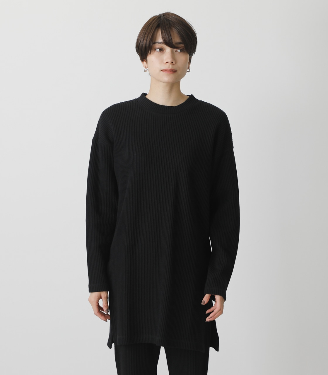T/H SIDE SLIT LONG TOPS/T/Hサイドスリットロングトップス 詳細画像 BLK 5