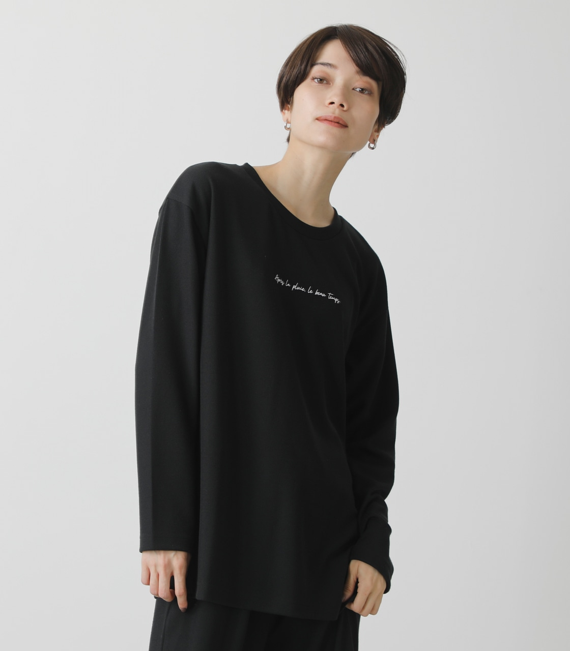 T/H PRINT LONG TEE/T/HプリントロングTシャツ 詳細画像 BLK 1