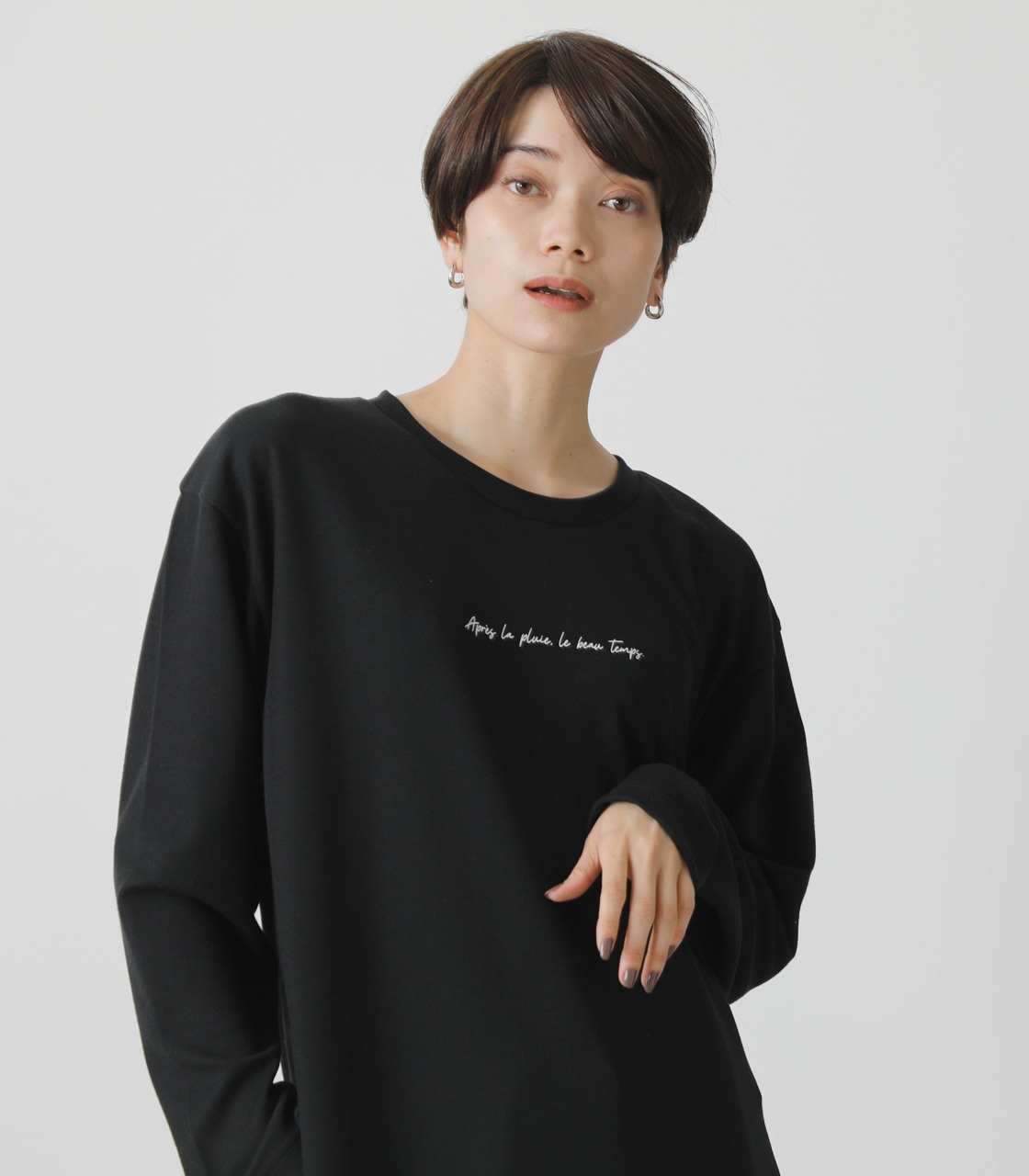 T/H PRINT LONG TEE/T/HプリントロングTシャツ 詳細画像 BLK 3