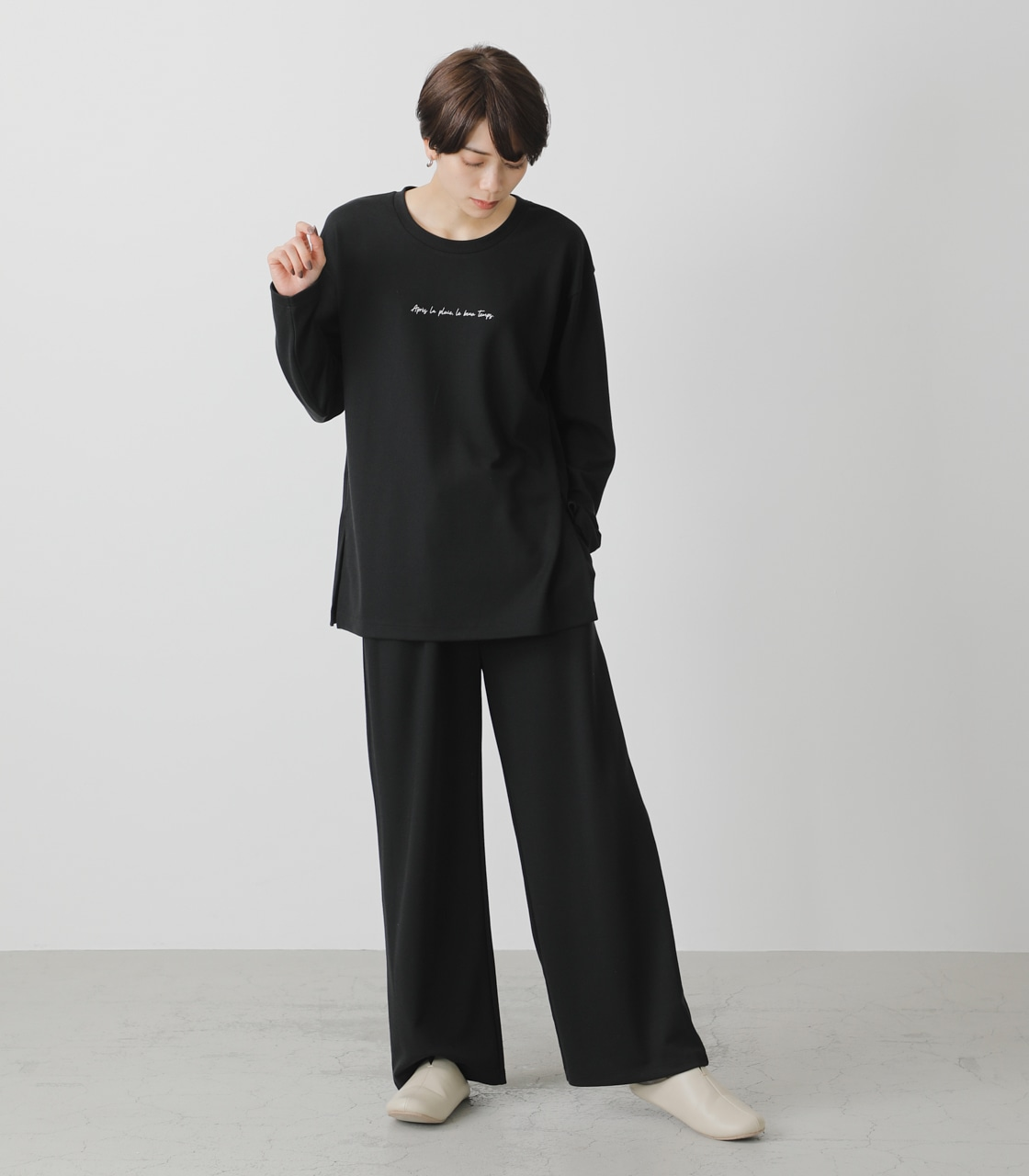 T/H PRINT LONG TEE/T/HプリントロングTシャツ 詳細画像 BLK 4