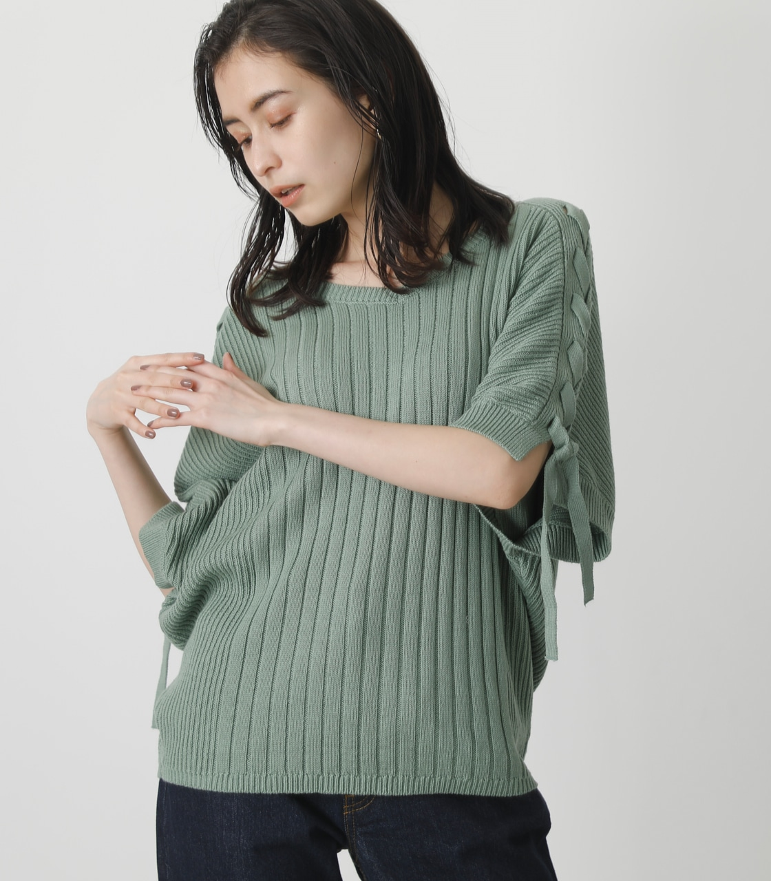 2WAY LACE-UP LOOSE KNIT/2WAYレースアップルーズニット