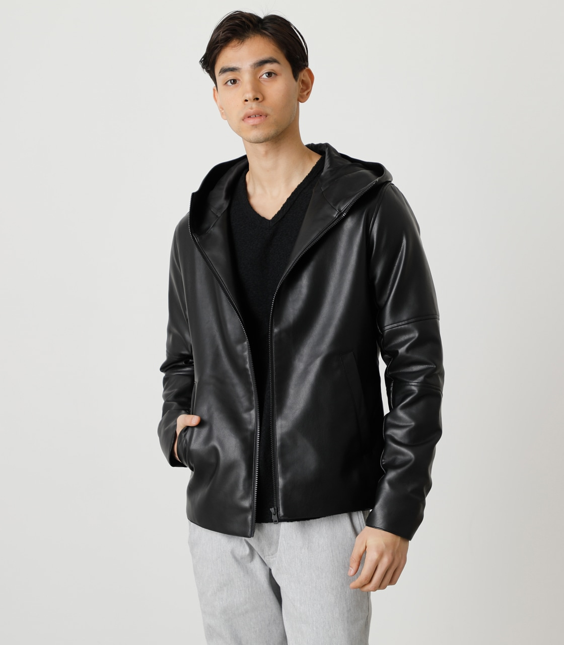 ECO LEATHER HOODED/エコレザーフーデッド 詳細画像 BLK 1