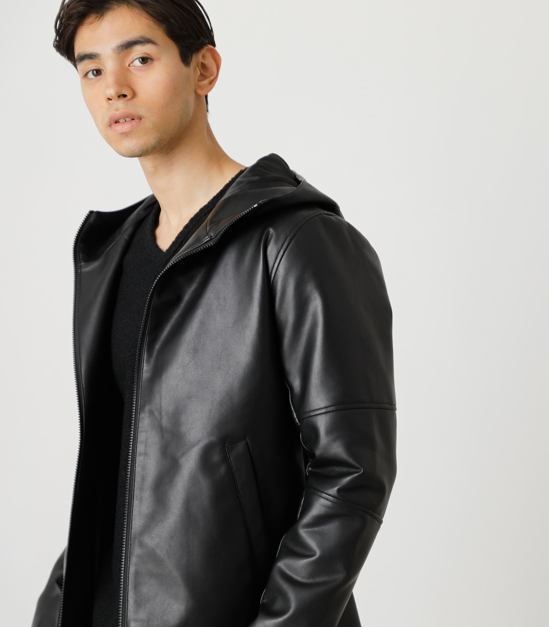 ECO LEATHER HOODED/エコレザーフーデッド 詳細画像 BLK 2