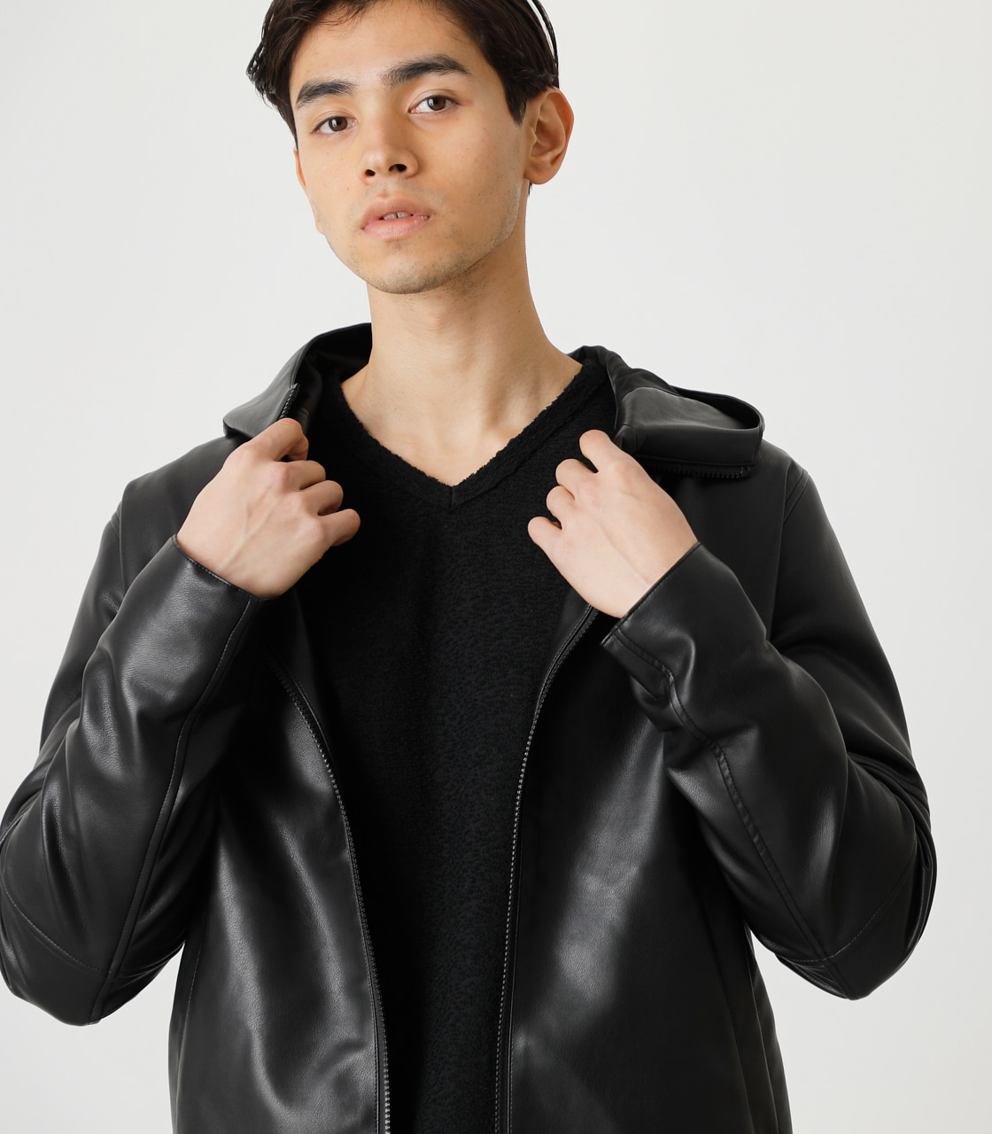 ECO LEATHER HOODED/エコレザーフーデッド 詳細画像 BLK 3