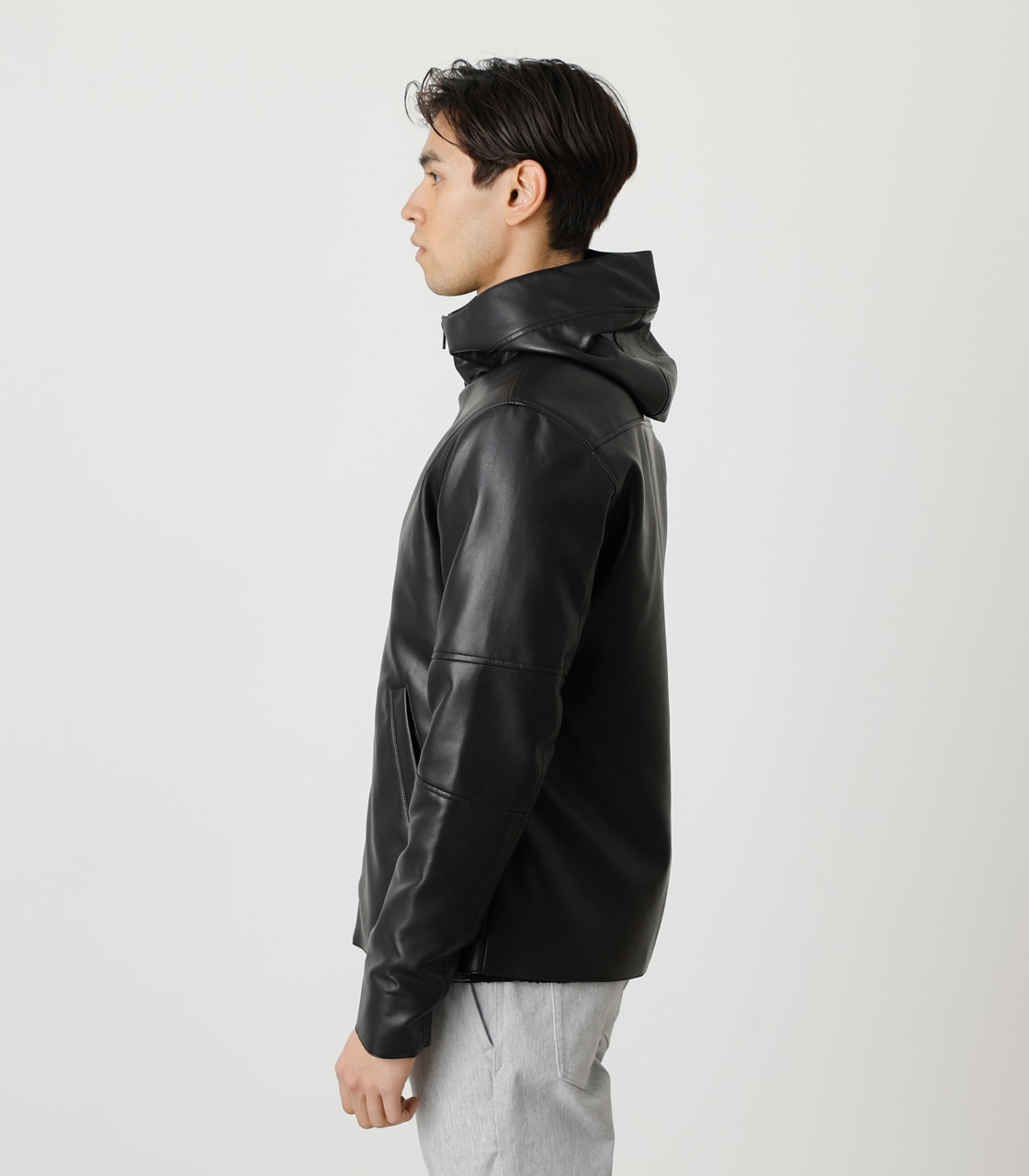 ECO LEATHER HOODED/エコレザーフーデッド 詳細画像 BLK 6
